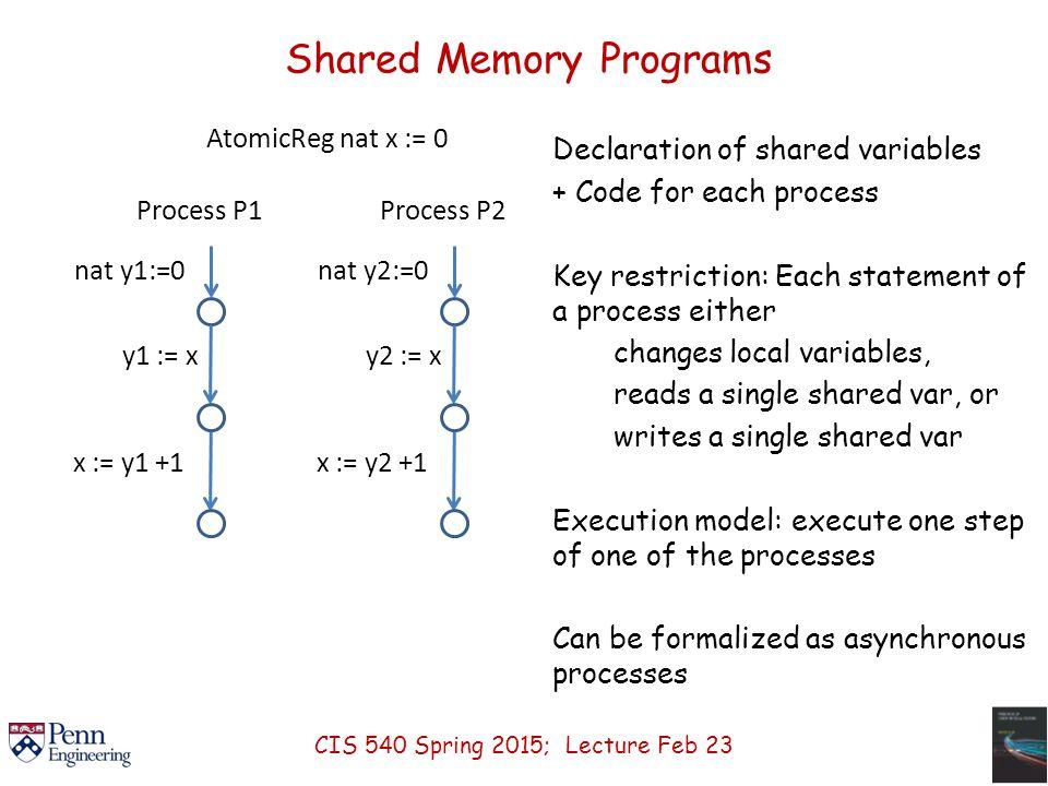 Shared Memory Programs AtomicReg nat x := 0 Process P1 nat y1:=0 y1 := x x := y1 +1 Process P2 nat y2:=0 y2 := x x := y2 +1 Declaration of shared vari