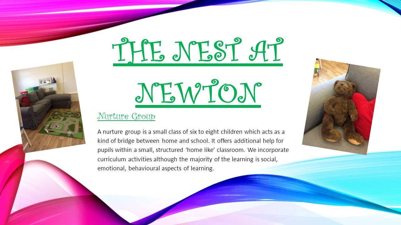 THE NEST AT NEWTON Nurture Group A nurture group is a small class of six to eight children which acts as a kind of bridge between home and school.