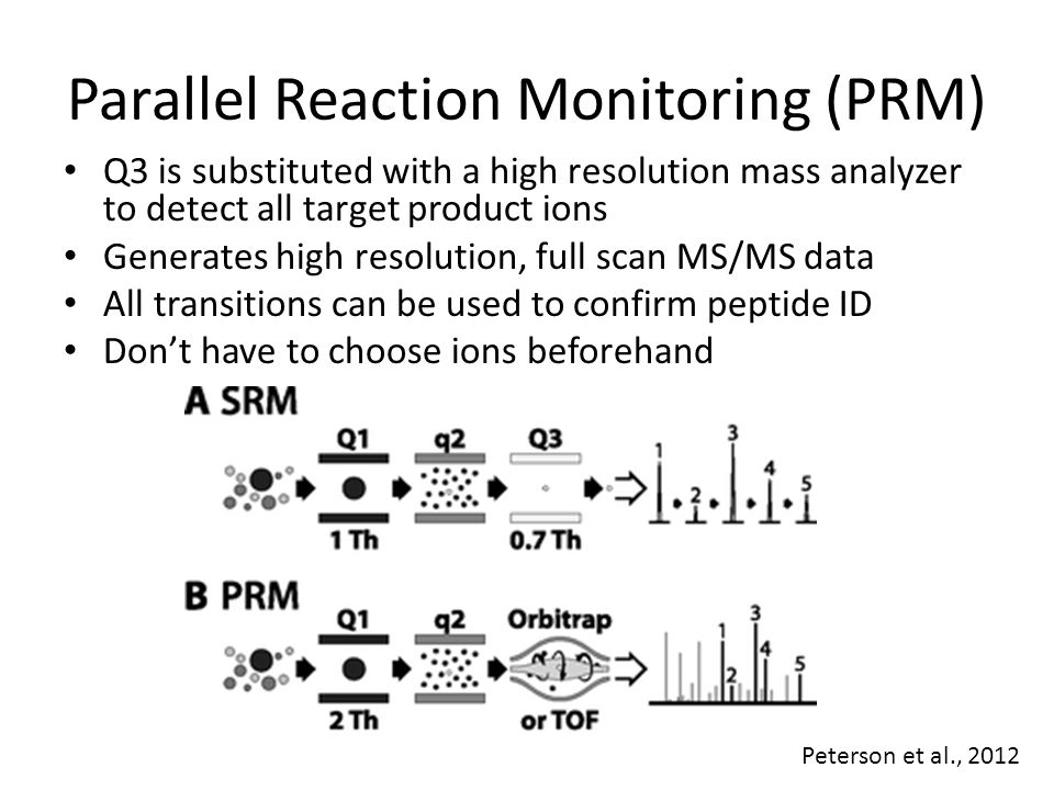 Parallel Reaction Monitoring (PRM) Q3 is substituted with a high resolution mass analyzer to detect all target product ions Generates high resolution,