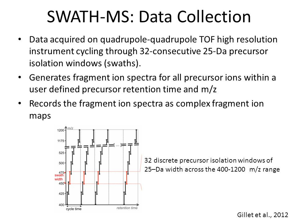 SWATH-MS: Data Collection 32 discrete precursor isolation windows of 25–Da width across the 400-1200 m/z range Gillet et al., 2012 Data acquired on quadrupole-quadrupole TOF high resolution instrument cycling through 32-consecutive 25-Da precursor isolation windows (swaths).