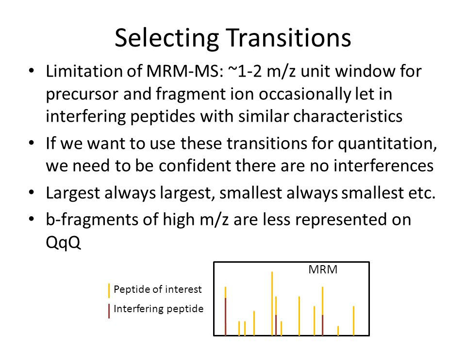 Selecting Transitions MRM Peptide of interest Interfering peptide Limitation of MRM-MS: ~1-2 m/z unit window for precursor and fragment ion occasional