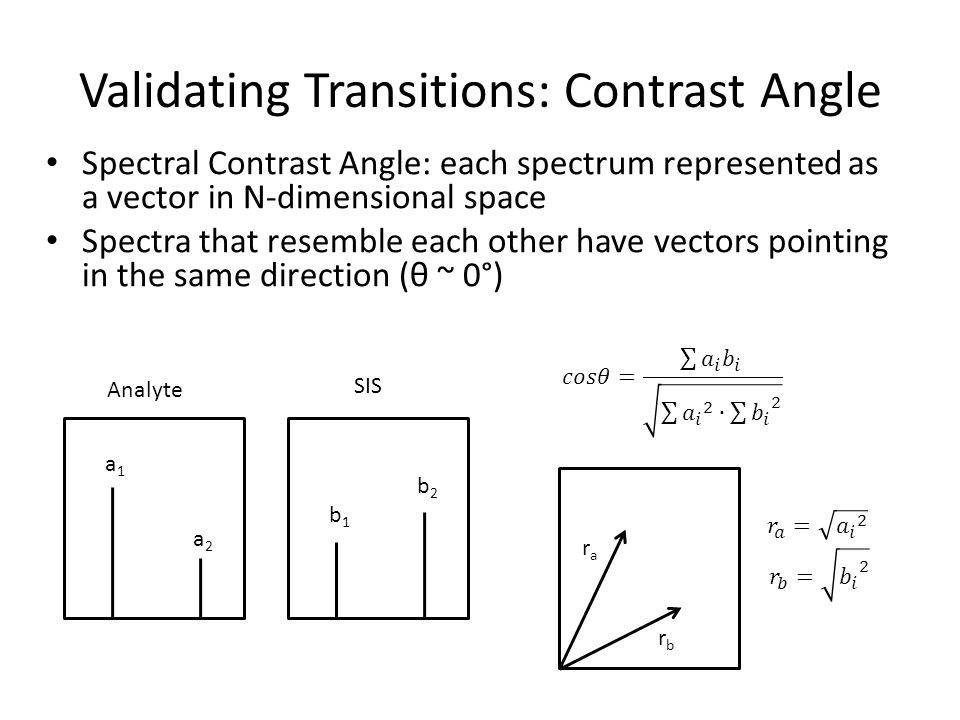 Validating Transitions: Contrast Angle Spectral Contrast Angle: each spectrum represented as a vector in N-dimensional space Spectra that resemble eac