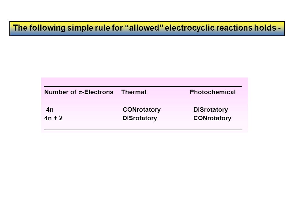 Answer 2: Electrocyclics Use frontier molecular orbitals to rationalise the following reaction Scheme.