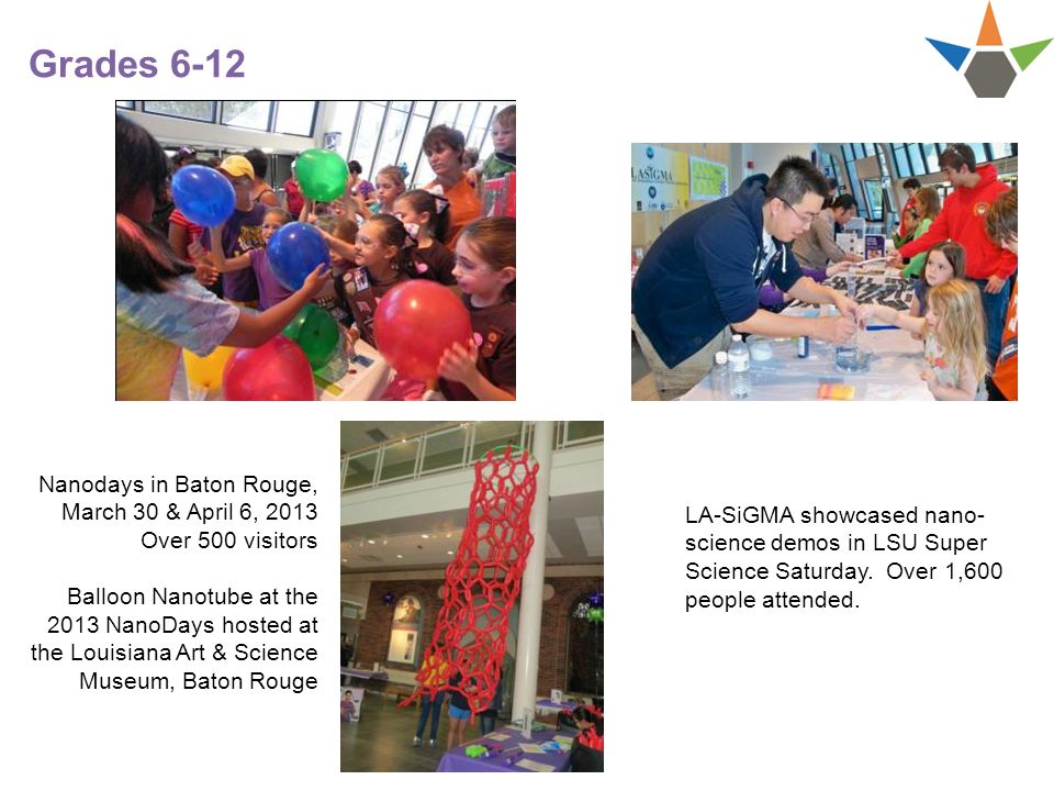 Grades 6-12 LA-SiGMA showcased nano- science demos in LSU Super Science Saturday.