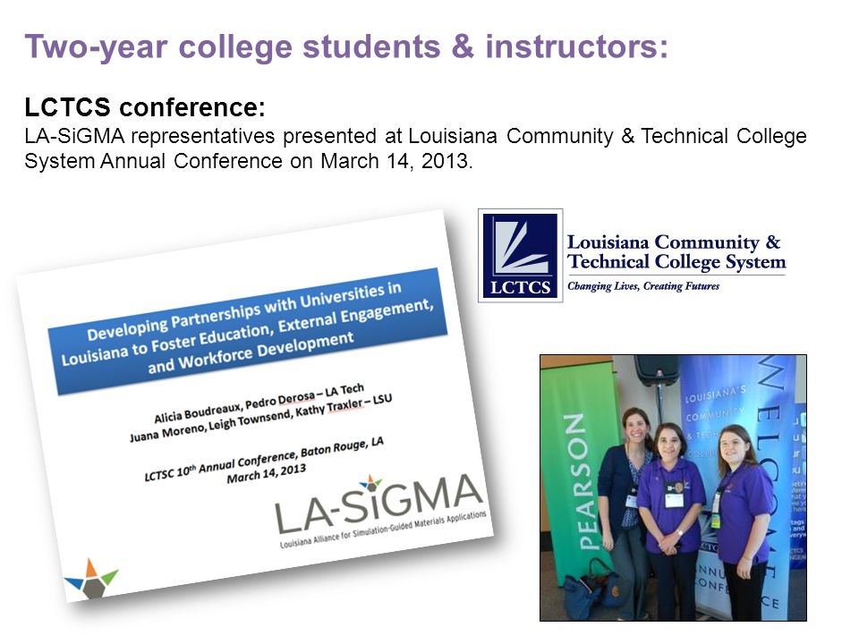 LCTCS conference: LA-SiGMA representatives presented at Louisiana Community & Technical College System Annual Conference on March 14, 2013.