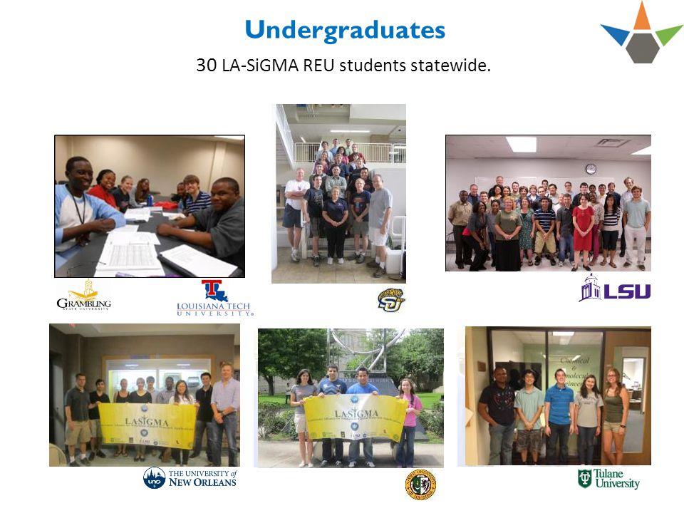 Undergraduates 30 LA-SiGMA REU students statewide.