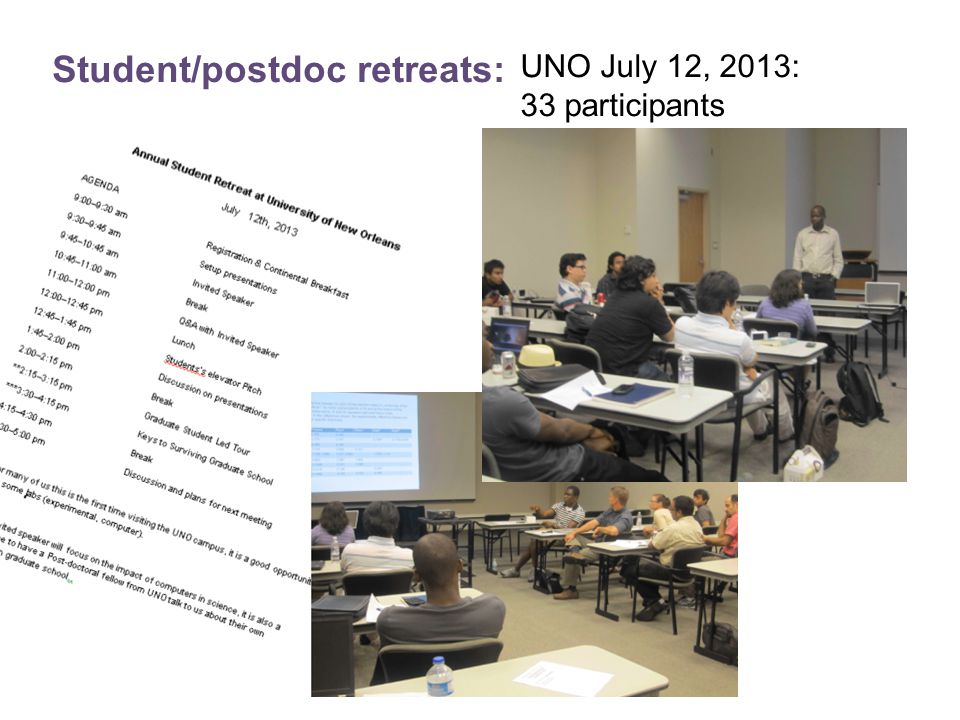 Student/postdoc retreats: UNO July 12, 2013: 33 participants