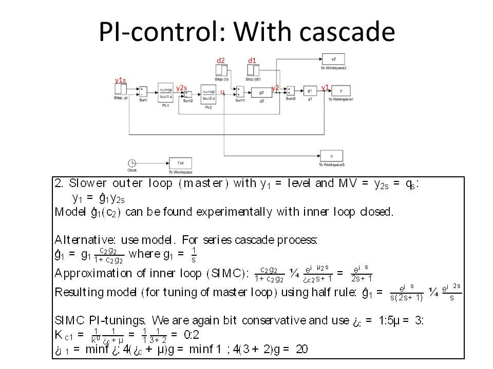 PI-control: With cascade y2sy2 u y1 y1s d2d1