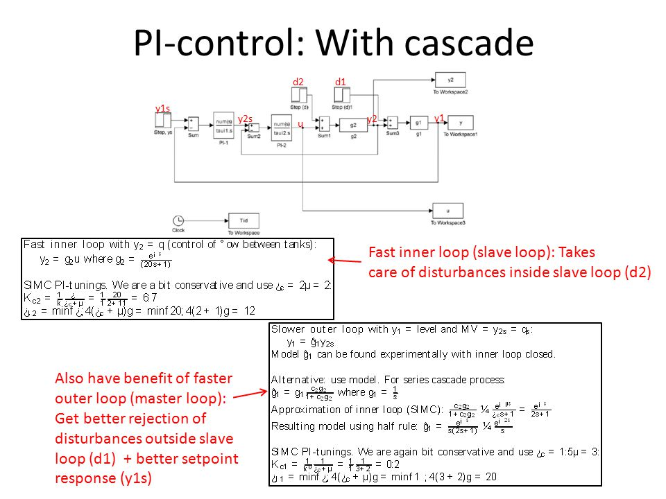 PI-control: With cascade y2sy2 u y1 y1s Fast inner loop (slave loop): Takes care of disturbances inside slave loop (d2) Also have benefit of faster outer loop (master loop): Get better rejection of disturbances outside slave loop (d1) + better setpoint response (y1s) d2d1