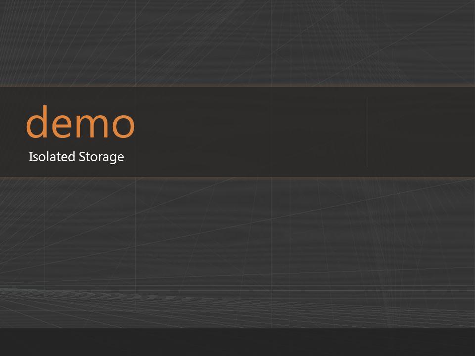 demo Isolated Storage