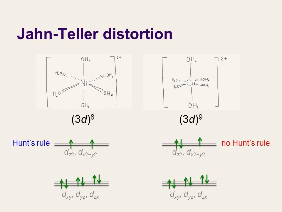 d xy, d yz, d zx d z2, d x2−y2 (3d) 8 d xy, d yz, d zx d z2, d x2−y2 (3d) 9 Hunt's ruleno Hunt's rule