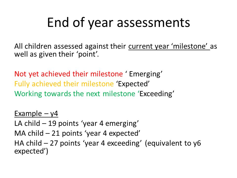 End of year assessments All children assessed against their current year 'milestone' as well as given their 'point'.