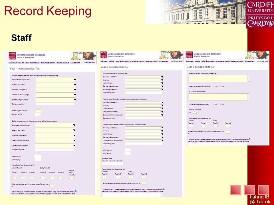 FahnertB @cf.ac.uk Staff Record Keeping