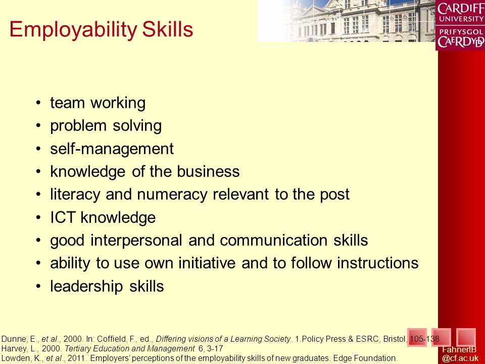 FahnertB @cf.ac.uk Employability Skills Dunne, E., et al., 2000. In: Coffield, F., ed., Differing visions of a Learning Society. 1.Policy Press & ESRC