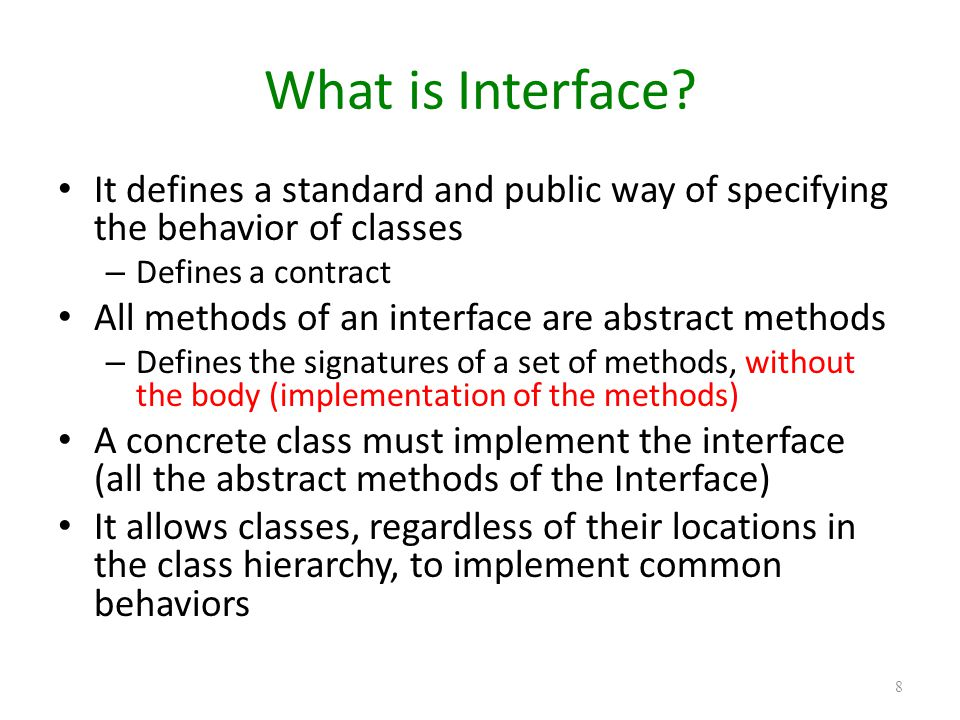 Defining Interface To define an interface, we write: public interface [InterfaceName] { //some methods without the body } 19