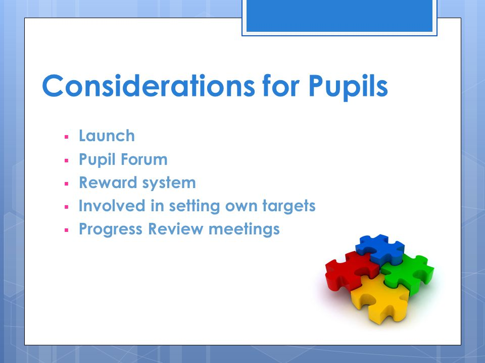 Considerations for Pupils  Launch  Pupil Forum  Reward system  Involved in setting own targets  Progress Review meetings