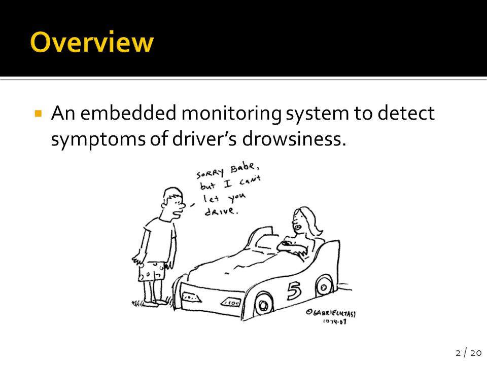  An embedded monitoring system to detect symptoms of driver's drowsiness. 2 / 20
