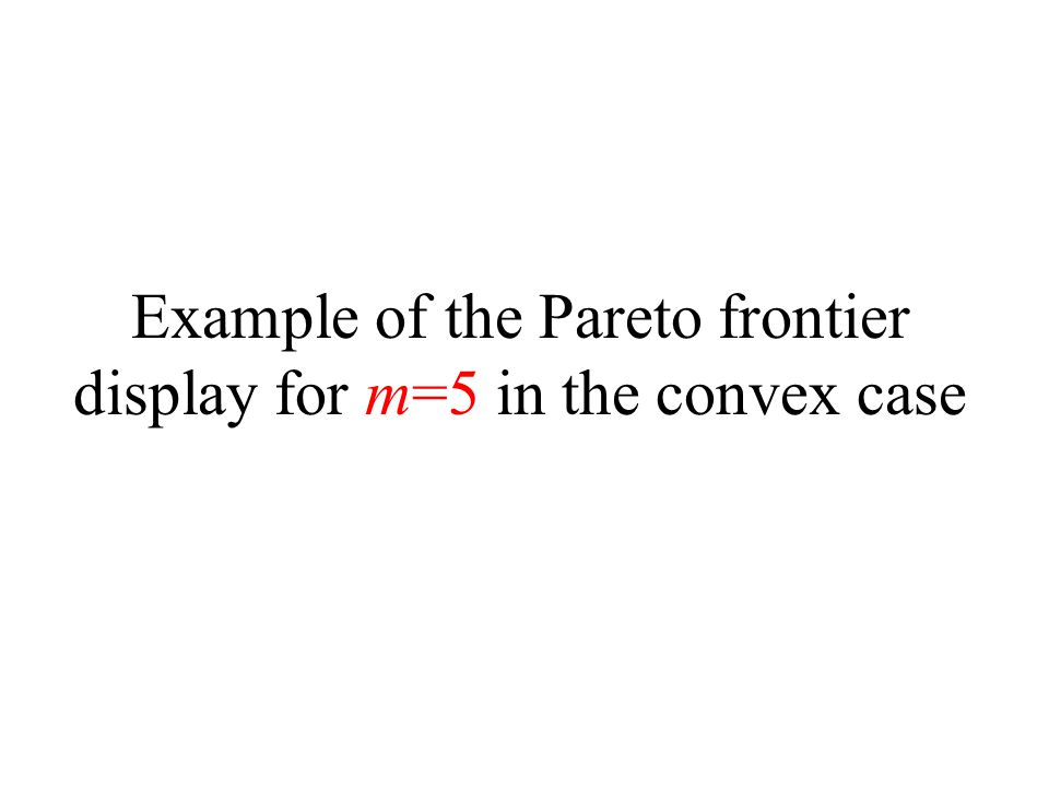 Example of the Pareto frontier display for m=5 in the convex case