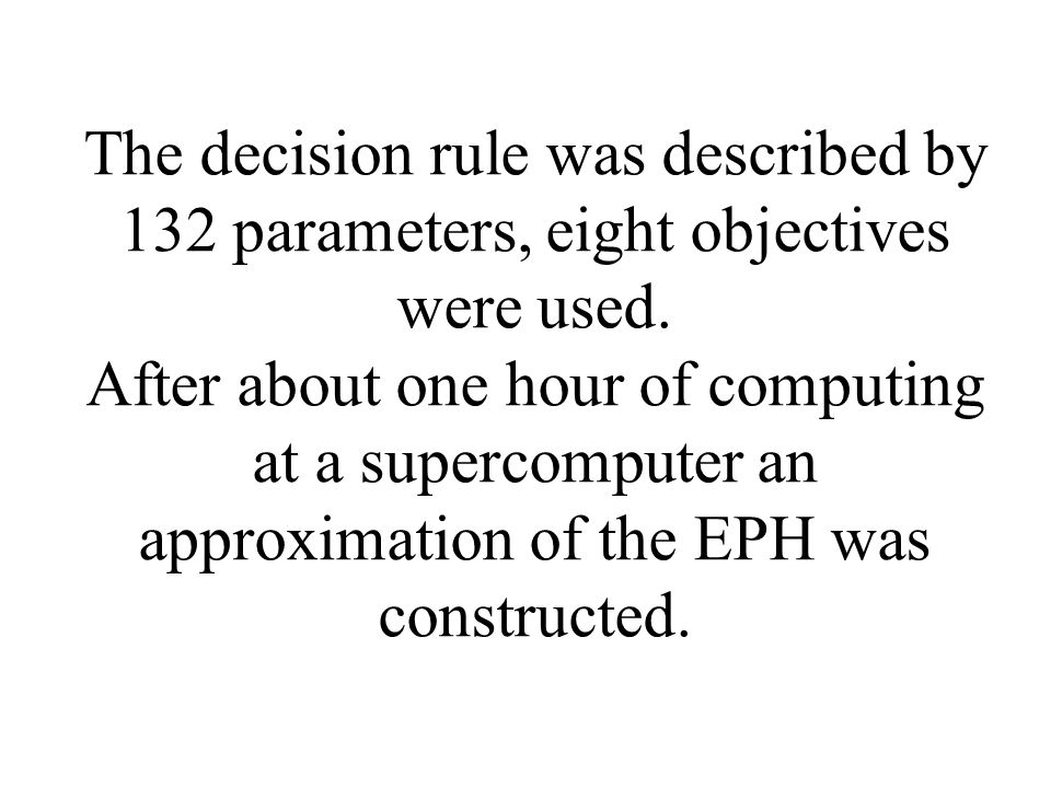 The decision rule was described by 132 parameters, eight objectives were used.