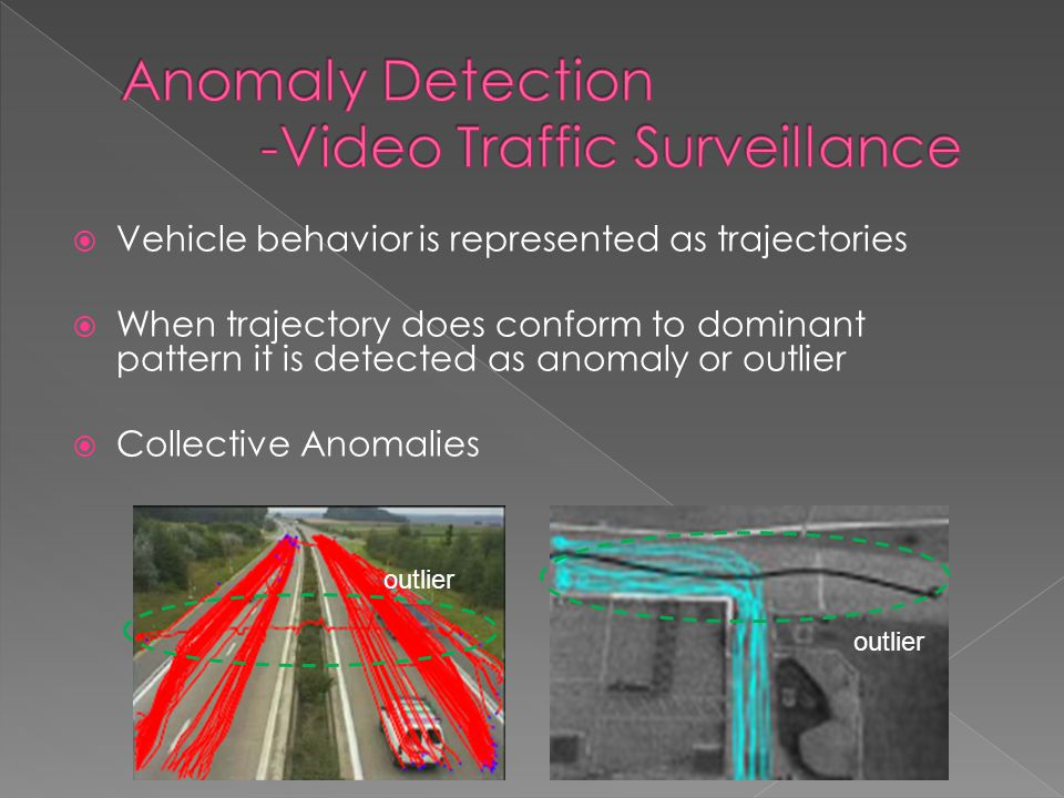 outlier  Vehicle behavior is represented as trajectories  When trajectory does conform to dominant pattern it is detected as anomaly or outlier  Collective Anomalies