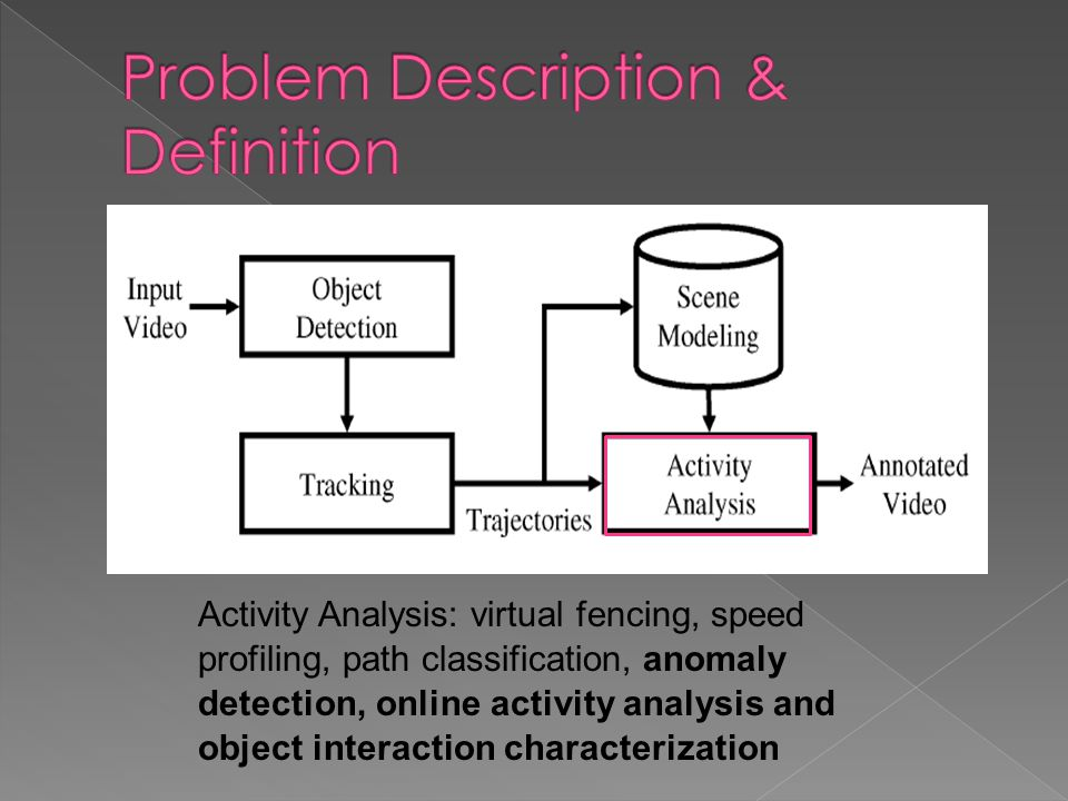 Activity Analysis: virtual fencing, speed profiling, path classification, anomaly detection, online activity analysis and object interaction characterization