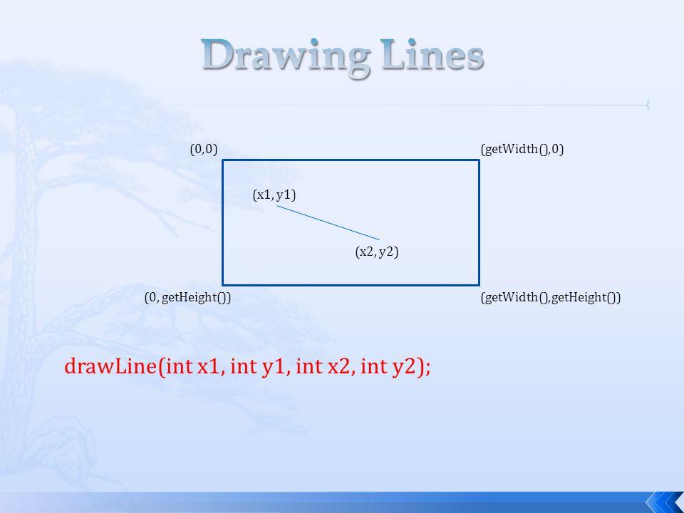 drawLine(int x1, int y1, int x2, int y2); (0,0) (getWidth(),0) (0, getHeight())(getWidth(),getHeight()) (x1, y1) (x2, y2)
