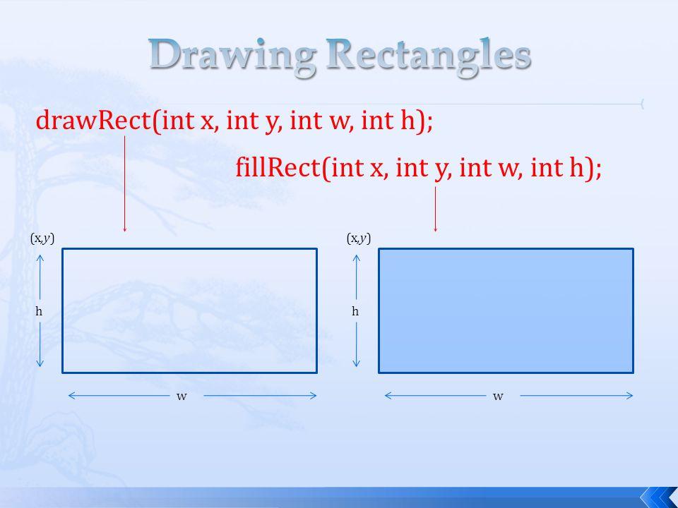 drawRect(int x, int y, int w, int h); fillRect(int x, int y, int w, int h); (x,y) h w h w