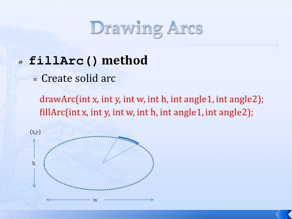  fillArc() method  Create solid arc (x,y) h w drawArc(int x, int y, int w, int h, int angle1, int angle2); fillArc(int x, int y, int w, int h, int angle1, int angle2);