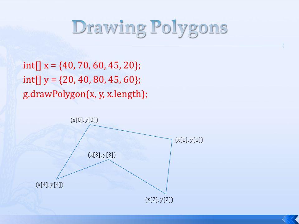 int[] x = {40, 70, 60, 45, 20}; int[] y = {20, 40, 80, 45, 60}; g.drawPolygon(x, y, x.length); (x[0], y[0]) (x[1], y[1]) (x[2], y[2]) (x[3], y[3]) (x[4], y[4])