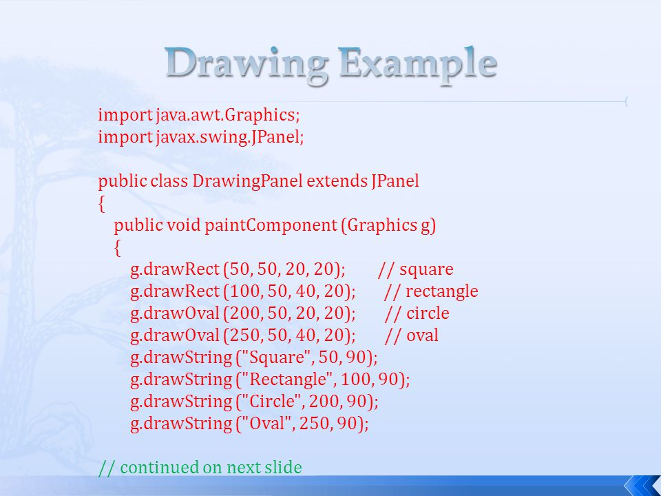 import java.awt.Graphics; import javax.swing.JPanel; public class DrawingPanel extends JPanel { public void paintComponent (Graphics g) { g.drawRect (50, 50, 20, 20); // square g.drawRect (100, 50, 40, 20); // rectangle g.drawOval (200, 50, 20, 20); // circle g.drawOval (250, 50, 40, 20); // oval g.drawString ( Square , 50, 90); g.drawString ( Rectangle , 100, 90); g.drawString ( Circle , 200, 90); g.drawString ( Oval , 250, 90); // continued on next slide