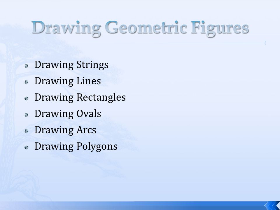  Drawing Strings  Drawing Lines  Drawing Rectangles  Drawing Ovals  Drawing Arcs  Drawing Polygons