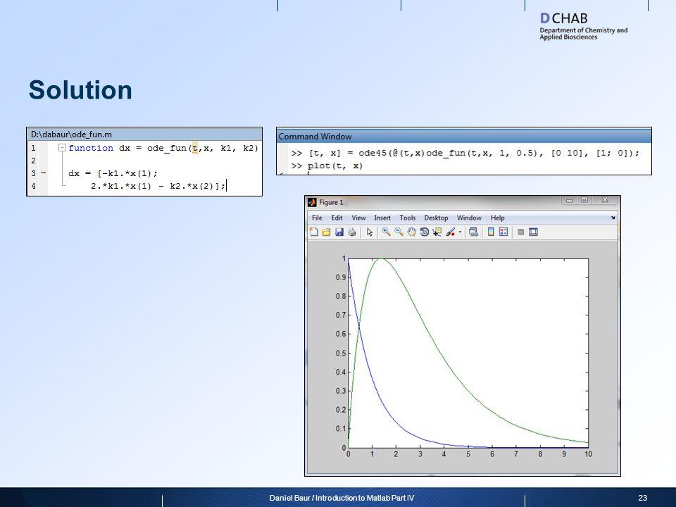 Solution 23Daniel Baur / Introduction to Matlab Part IV
