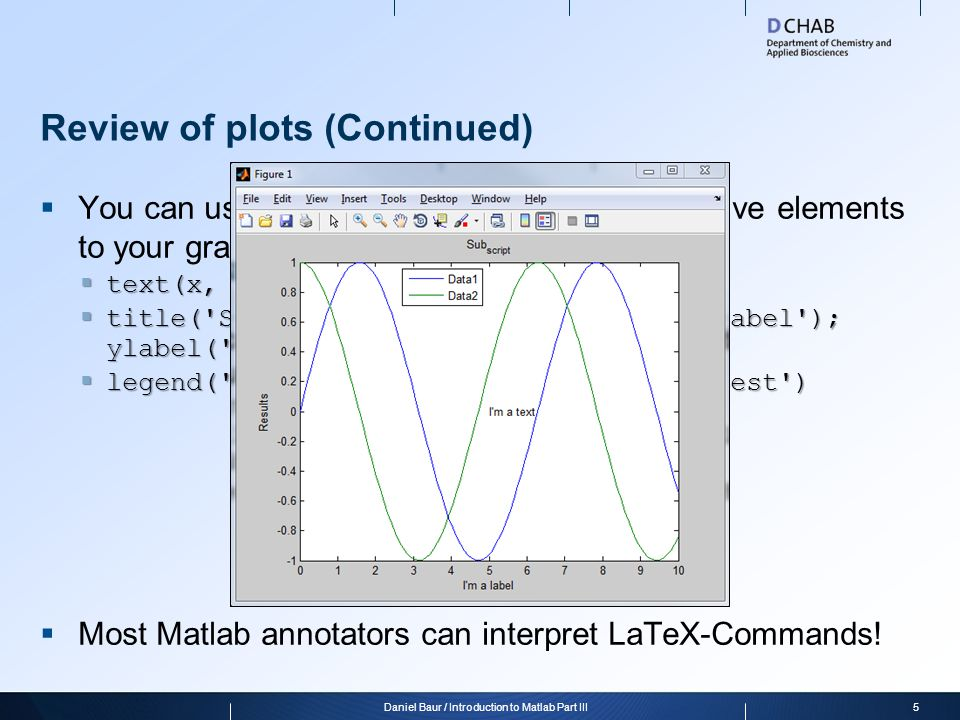 Review of plots (Continued)  You can use these commands to add descriptive elements to your graphs  text(x, y, 'I''m a text');  title('Sub_{script}