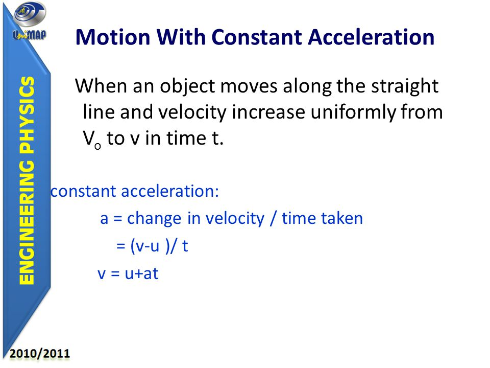 When an object moves along the straight line and velocity increase uniformly from V o to v in time t.