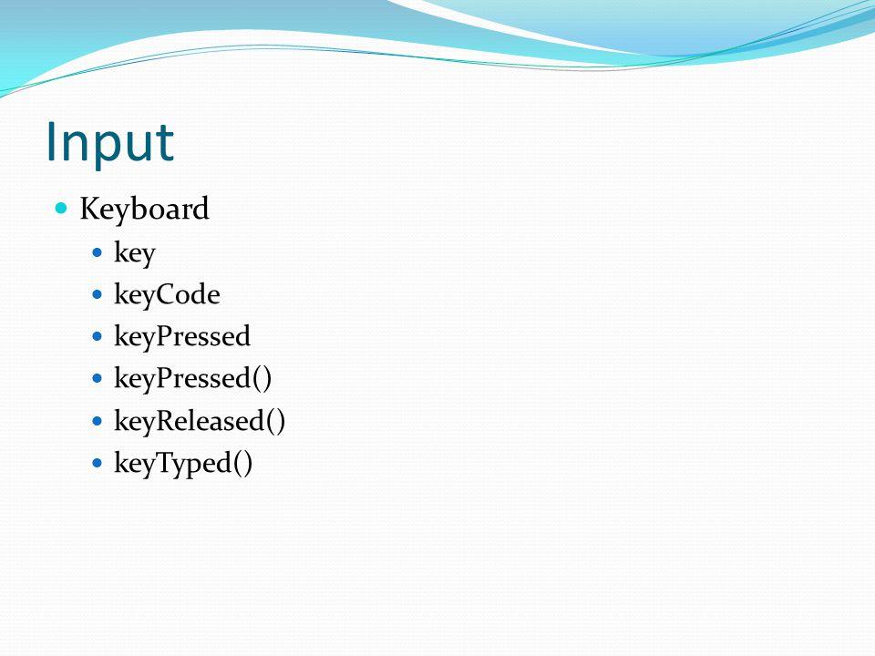 Input Keyboard key keyCode keyPressed keyPressed() keyReleased() keyTyped()