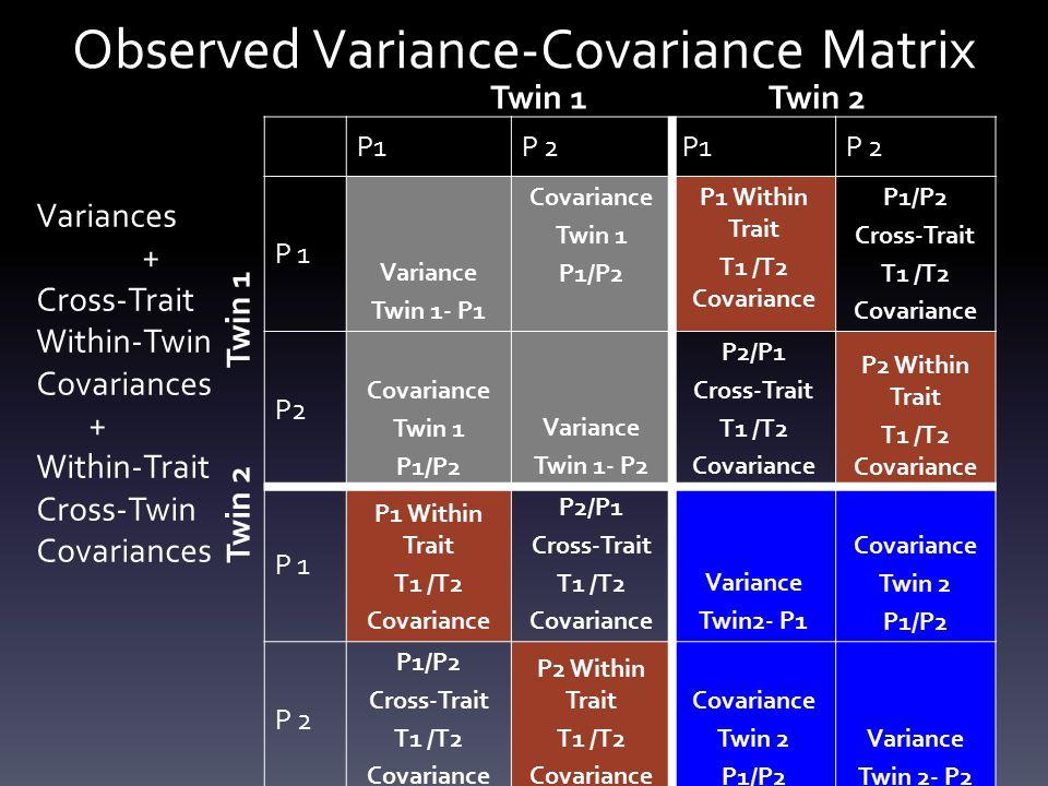 Observed Variance-Covariance Matrix P1P 2P1P 2 P 1 Variance Twin 1- P1 Covariance Twin 1 P1/P2 P1 Within Trait T1 /T2 Covariance P1/P2 Cross-Trait T1 /T2 Covariance P2 Covariance Twin 1 P1/P2 Variance Twin 1- P2 P2/P1 Cross-Trait T1 /T2 Covariance P2 Within Trait T1 /T2 Covariance P 1 P1 Within Trait T1 /T2 Covariance P2/P1 Cross-Trait T1 /T2 Covariance Variance Twin2- P1 Covariance Twin 2 P1/P2 P 2 P1/P2 Cross-Trait T1 /T2 Covariance P2 Within Trait T1 /T2 Covariance Twin 2 P1/P2 Variance Twin 2- P2 Twin 1Twin 2 Twin 1 Twin 2 Variances + Cross-Trait Within-Twin Covariances + Within-Trait Cross-Twin Covariances