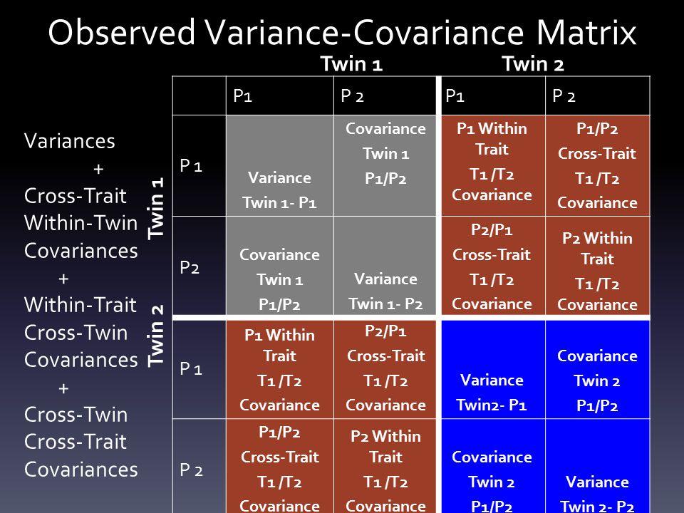 Observed Variance-Covariance Matrix P1P 2P1P 2 P 1 Variance Twin 1- P1 Covariance Twin 1 P1/P2 P1 Within Trait T1 /T2 Covariance P1/P2 Cross-Trait T1 /T2 Covariance P2 Covariance Twin 1 P1/P2 Variance Twin 1- P2 P2/P1 Cross-Trait T1 /T2 Covariance P2 Within Trait T1 /T2 Covariance P 1 P1 Within Trait T1 /T2 Covariance P2/P1 Cross-Trait T1 /T2 Covariance Variance Twin2- P1 Covariance Twin 2 P1/P2 P 2 P1/P2 Cross-Trait T1 /T2 Covariance P2 Within Trait T1 /T2 Covariance Twin 2 P1/P2 Variance Twin 2- P2 Twin 1Twin 2 Twin 1 Twin 2 Variances + Cross-Trait Within-Twin Covariances + Within-Trait Cross-Twin Covariances + Cross-Twin Cross-Trait Covariances
