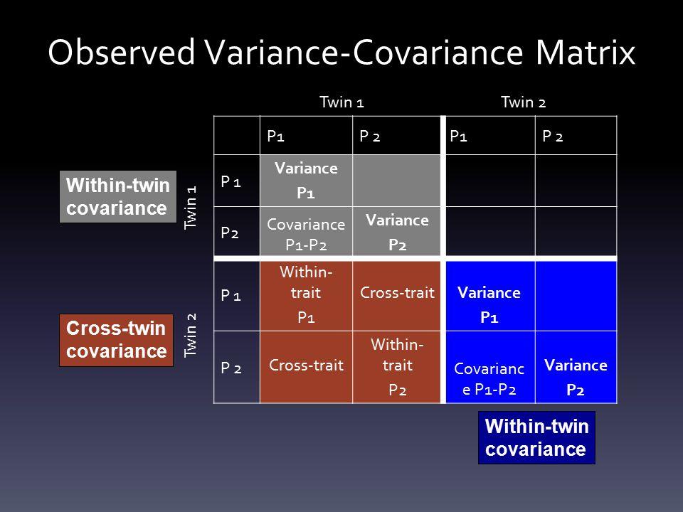 Observed Variance-Covariance Matrix P1P 2P1P 2 P 1 Variance P1 P2 Covariance P1-P2 Variance P2 P 1 Within- trait P1 Cross-traitVariance P1 P 2 Cross-trait Within- trait P2 Covarianc e P1-P2 Variance P2 Twin 1Twin 2 Twin 1 Twin 2 Within-twin covariance Within-twin covariance Cross-twin covariance