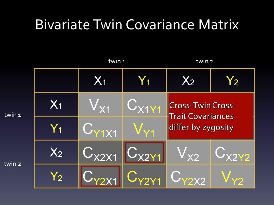 Bivariate Twin Covariance Matrix X1X1 Y1Y1 X2X2 Y2Y2 X1X1 V X1 C X1Y1 C X1X2 C X1Y2 Y1Y1 C Y1X1 V Y1 C Y1X2 C Y1Y2 X2X2 C X2X1 C X2Y1 V X2 C X2Y2 Y2Y2 C Y2X1 C Y2Y1 C Y2X2 V Y2 twin 1 twin 2 Cross-Twin Cross- Trait Covariances differ by zygosity