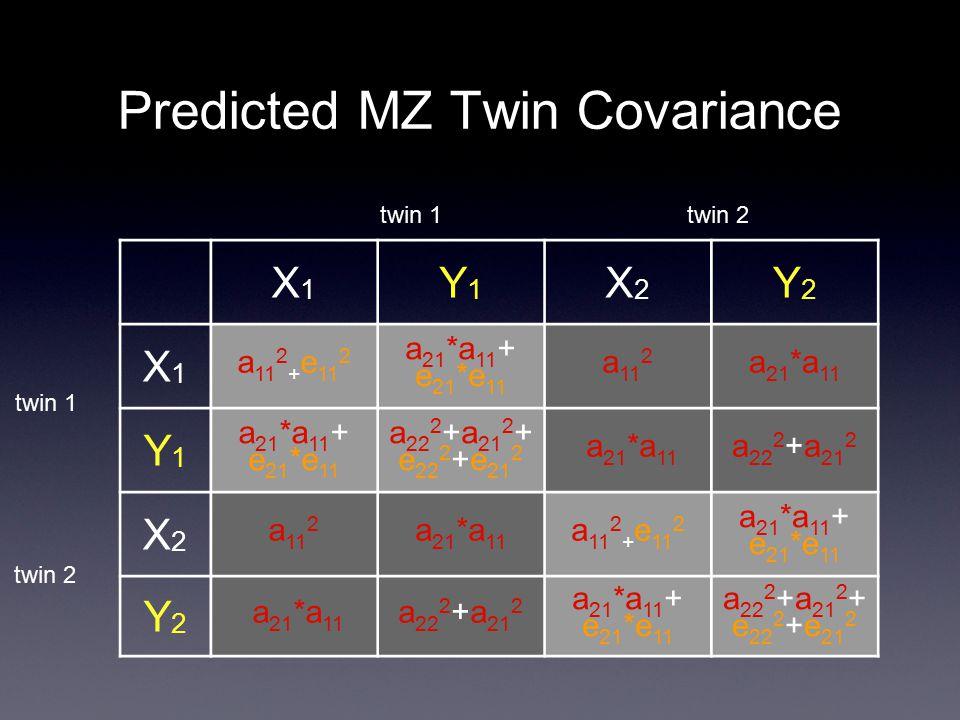 Predicted MZ Twin Covariance X1X1 Y1Y1 X2X2 Y2Y2 X1X1 a 11 2 + e 11 2 a 21 *a 11 + e 21 *e 11 a 11 2 a 21 *a 11 Y1Y1 a 21 *a 11 + e 21 *e 11 a 22 2 +a 21 2 + e 22 2 +e 21 2 a 21 *a 11 a 22 2 +a 21 2 X2X2 a 11 2 a 21 *a 11 a 11 2 + e 11 2 a 21 *a 11 + e 21 *e 11 Y2Y2 a 21 *a 11 a 22 2 +a 21 2 a 21 *a 11 + e 21 *e 11 a 22 2 +a 21 2 + e 22 2 +e 21 2 twin 1 twin 2