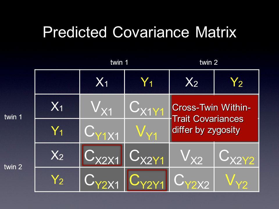 Predicted Covariance Matrix X1X1 Y1Y1 X2X2 Y2Y2 X1X1 V X1 C X1Y1 C X1X2 C X1Y2 Y1Y1 C Y1X1 V Y1 C Y1X2 C Y1Y2 X2X2 C X2X1 C X2Y1 V X2 C X2Y2 Y2Y2 C Y2X1 C Y2Y1 C Y2X2 V Y2 twin 1 twin 2 Cross-Twin Within- Trait Covariances differ by zygosity