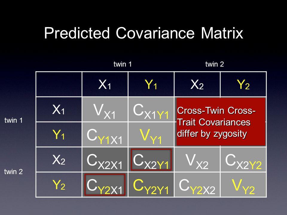 Predicted Covariance Matrix X1X1 Y1Y1 X2X2 Y2Y2 X1X1 V X1 C X1Y1 C X1X2 C X1Y2 Y1Y1 C Y1X1 V Y1 C Y1X2 C Y1Y2 X2X2 C X2X1 C X2Y1 V X2 C X2Y2 Y2Y2 C Y2X1 C Y2Y1 C Y2X2 V Y2 twin 1 twin 2 Cross-Twin Cross- Trait Covariances differ by zygosity