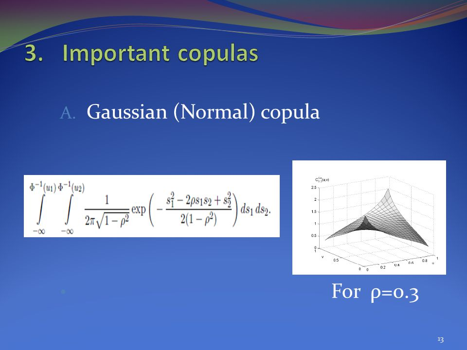 A. Gaussian (Normal) copula For ρ=0.3 13