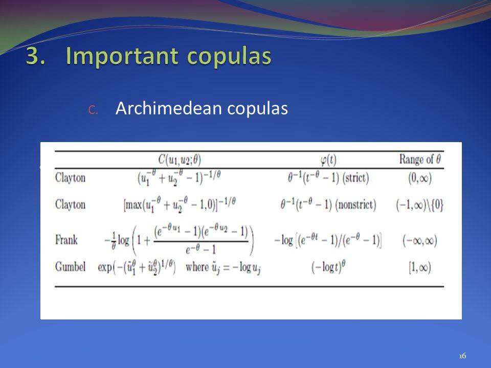 C. Archimedean copulas 16