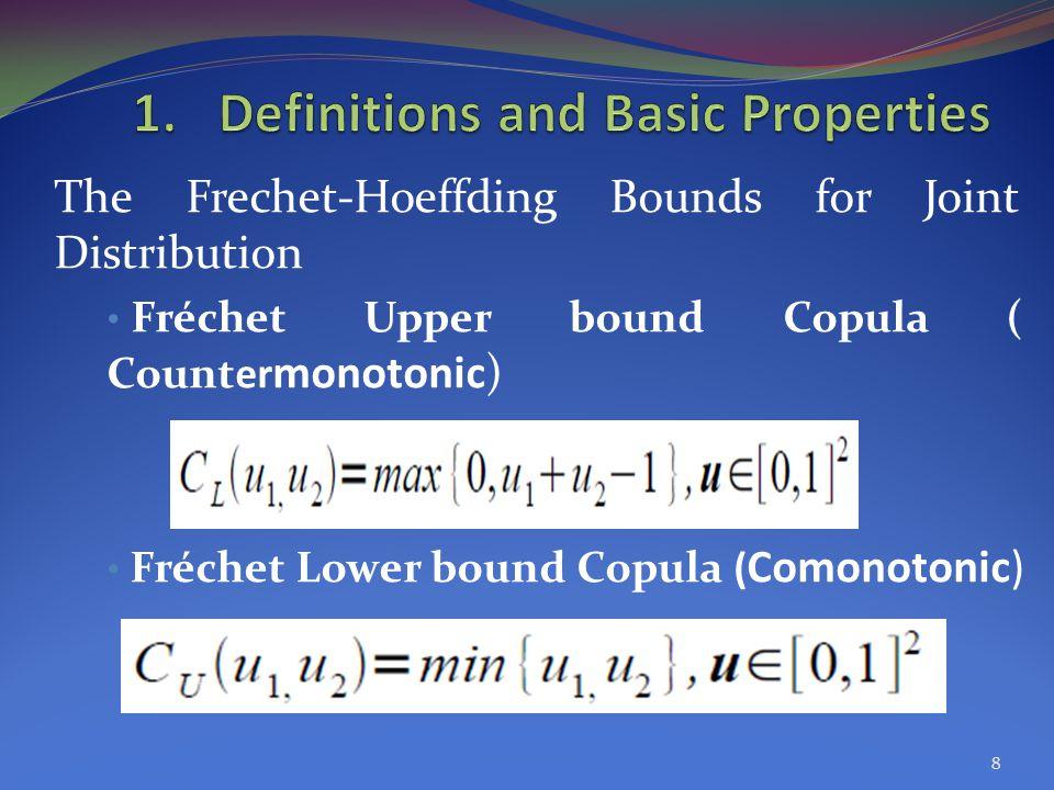 The Frechet-Hoeffding Bounds for Joint Distribution Fréchet Upper bound Copula ( Counter monotonic) Fréchet Lower bound Copula ( Comonotonic) 8