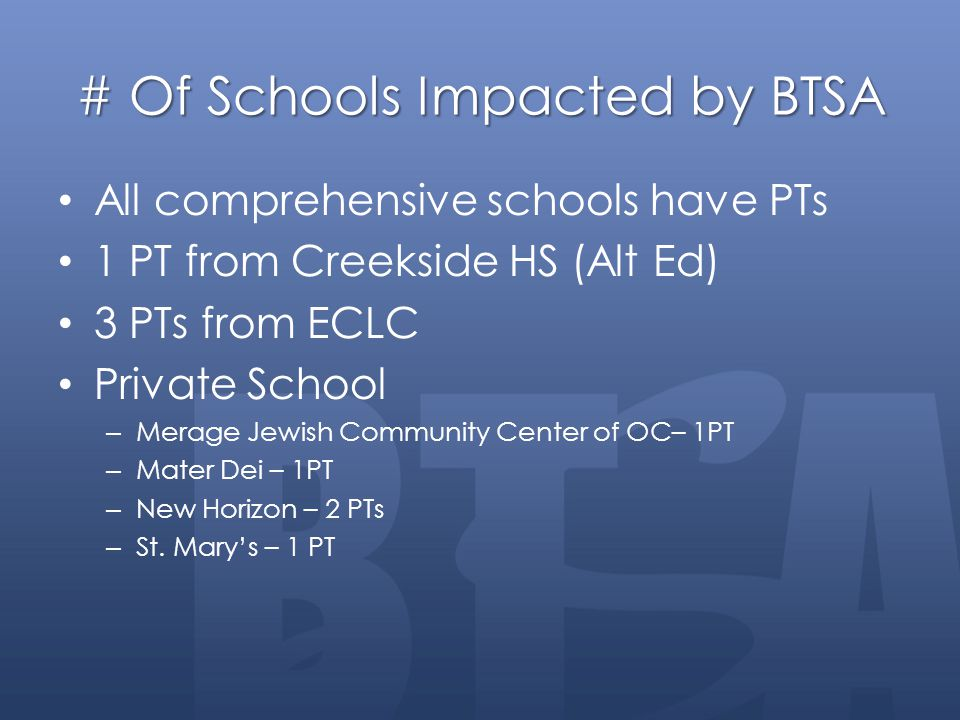 # Of Schools Impacted by BTSA All comprehensive schools have PTs 1 PT from Creekside HS (Alt Ed) 3 PTs from ECLC Private School – Merage Jewish Commun