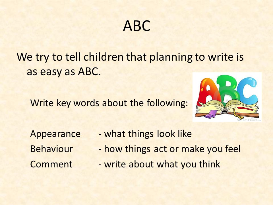 ABC We try to tell children that planning to write is as easy as ABC.