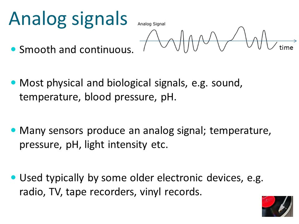 Digital signals Discrete and discontinuous.Used by digital computers, i.e.