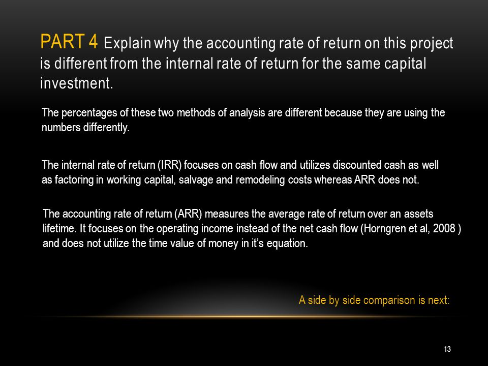 PART 4 Explain why the accounting rate of return on this project is different from the internal rate of return for the same capital investment. The pe