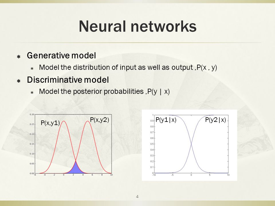 Neural networks  Generative model  Model the distribution of input as well as output,P(x, y)  Discriminative model  Model the posterior probabilit